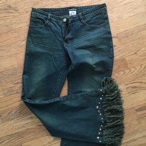 Bebe fringed silver studded jeans
